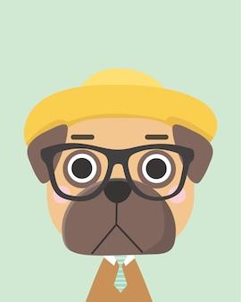 Cute pug dog.