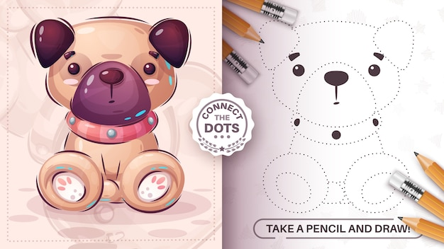 Cute pug dot  connect  smart game