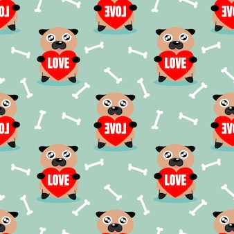 Cute pug hold a red heart seamless pattern.