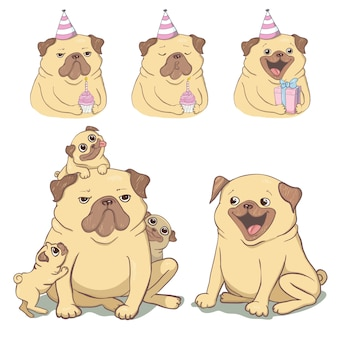 Cute pug illustration.