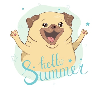 Cute pug illustration.