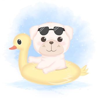 泳ぐリングでかわいいパグ、手描きの犬漫画イラスト