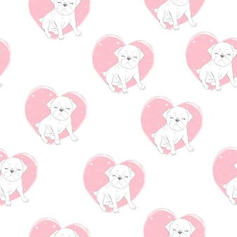 Cute pug seamless pattern