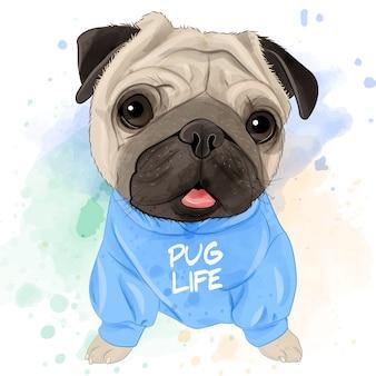 Cute pug watercolor for printing