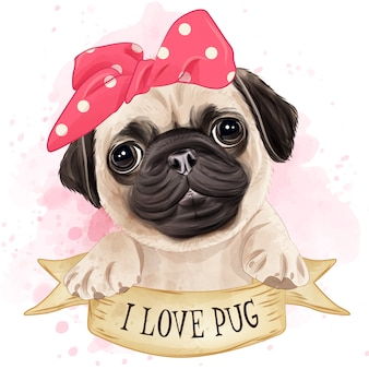 Cute pug watercolor