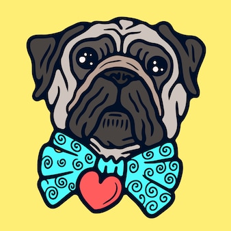 Cute pug with a bow tie old school tattoo vector