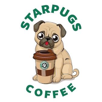 Cute pug with coffee cup