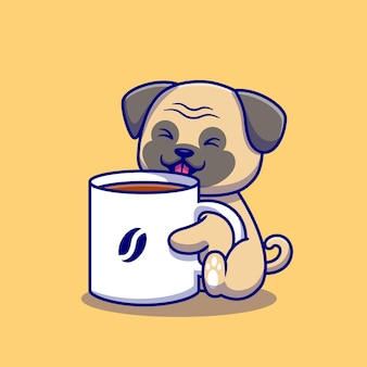Cute pug with cup of coffee cartoon   illustration. animal drink  concept isolated . flat cartoon