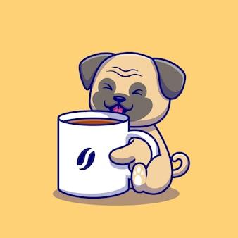 Милый мопс с чашкой кофе иллюстрации шаржа. изолированная концепция напитка животных. плоский мультфильм