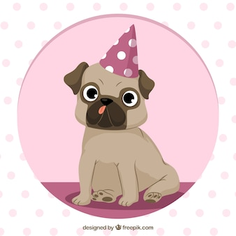 Cute pug with party hat