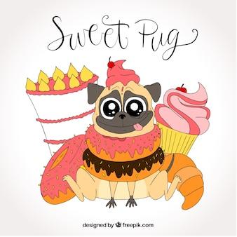 Симпатичный мопс со сладкой пищей