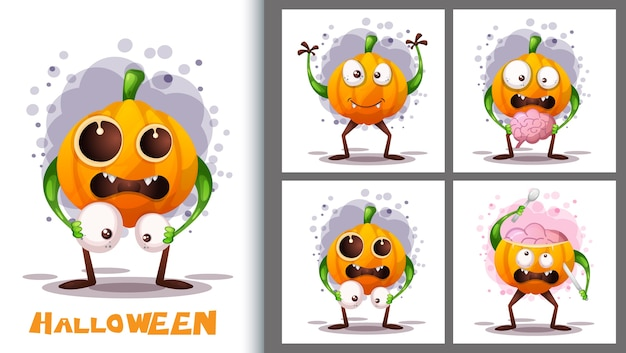 Cute pumkins illustration set and poster character.