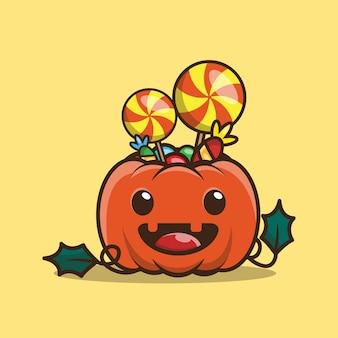 귀여운 호박과 사탕 캐릭터