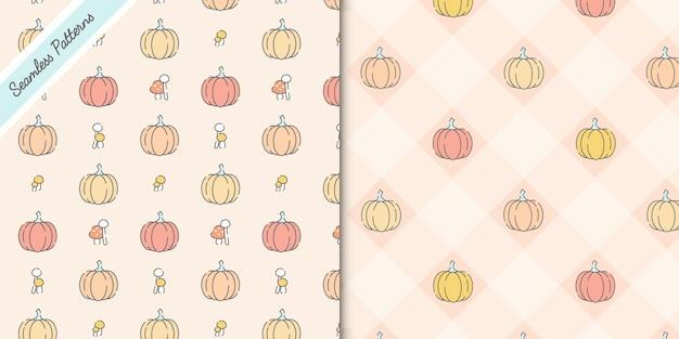 かわいいカボチャとキノコのシームレスなパターンプレミアムベクトル