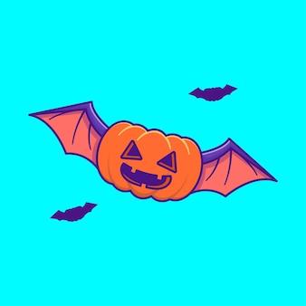Симпатичные тыквенные летучие мыши счастливого хэллоуина мультяшные иллюстрации