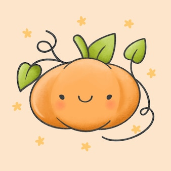 Cute pumpkin cartoon hand drawn style