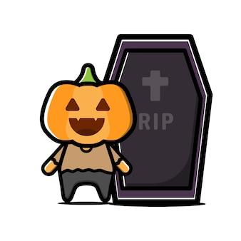 Cute pumpkin character. halloween concept