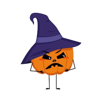 Cute pumpkin character in pointed hat with angry emotions face arms