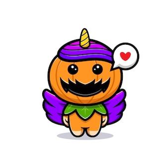 Симпатичный персонаж из тыквы-единорога