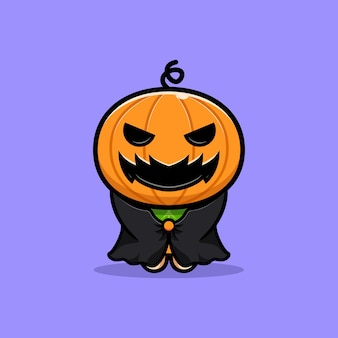 Cute pumpkin character wearing dark cloak  cartoon illustration