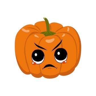 怒った感情のかわいいカボチャのキャラクター不機嫌そうな顔の猛烈な目ハロウィーンのお祝いの装飾...