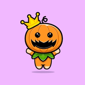 Cute pumpkin character with corwn and jumping  cartoon illustration