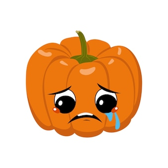 泣いて涙を浮かべるかわいいカボチャのキャラクター悲しい顔うつ病の目お祝いの装飾...