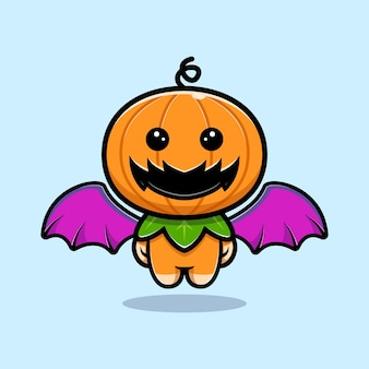 Cute pumpkin character with wing and floating cartoon illustration
