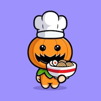 かわいいかぼちゃシェフのキャラクターがラーメンを作る漫画イラスト