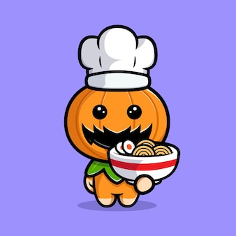 Cute pumpkin chef character make a ramen noodle cartoon illustration