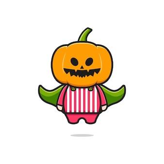 Cute pumpkin costume halloween cartoon icon illustration. design isolated flat cartoon style
