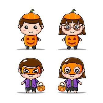 Набор персонажей хэллоуина с милым костюмом тыквы