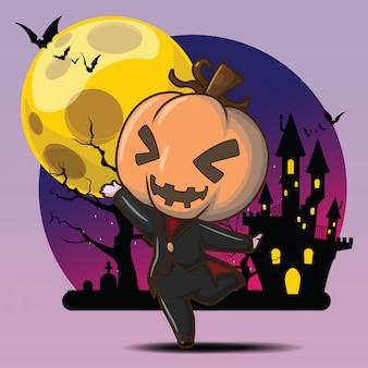 Cute pumpkin devil at full moon background
