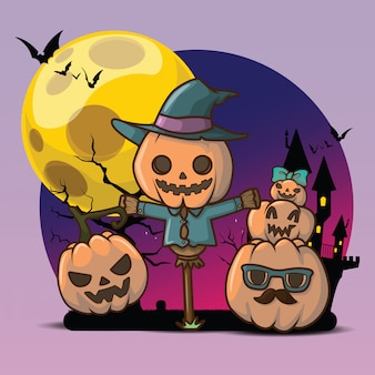 Cute pumpkin devil at full moon background