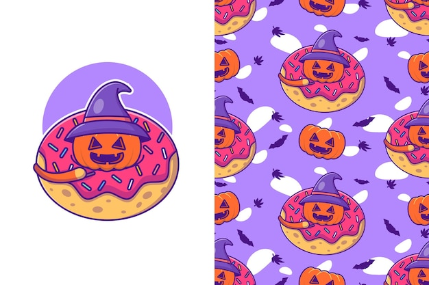 Cute pumpkin in donuts halloween with seamless pattern