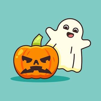 Милый тыквенный хэллоуин и милый призрак.