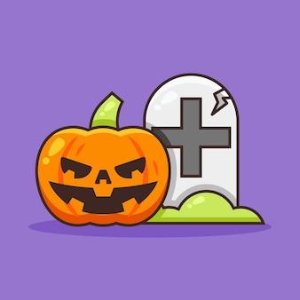 Милый хэллоуин тыквы рядом с надгробием.
