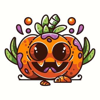 アイコンのロゴのステッカーとイラストのかわいいカボチャのハロウィーン