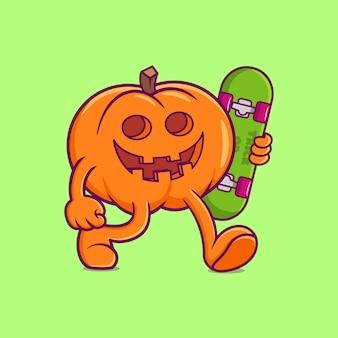 Милая тыква хэллоуин, холдинг скейтборд. плоский мультяшный стиль premium векторы