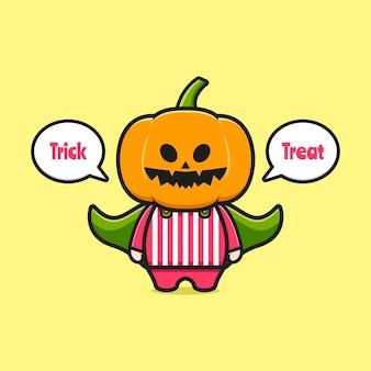 Cute pumpkin halloween saying trick or treat cartoon icon illustration. design isolated flat cartoon style