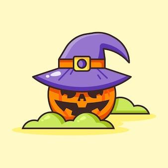 Милый хэллоуин тыквы в шляпе ведьмы.