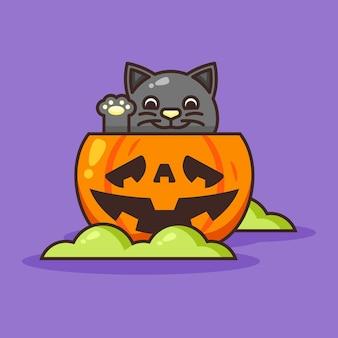Милый тыквенный хэллоуин с милой черной кошкой внутри.
