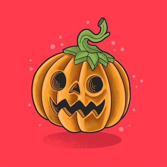 Cute pumpkin illustration grunge style