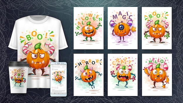 Cute pumpkin illustration and merchandising