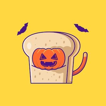 パンのかわいいカボチャ幸せなハロウィーンの漫画イラスト