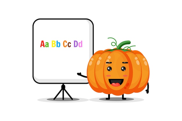 The cute pumpkin mascot explains the alphabet