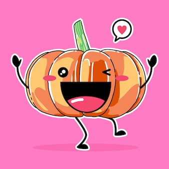Cute pumpkin mascot isolated on pink