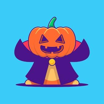 Симпатичные тыквенный монстр дракула иллюстрации шаржа. хэллоуин плоский мультяшный стиль концепции