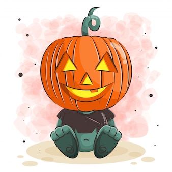 Cute pumpkin monster for halloween illustration