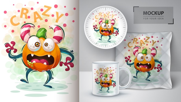 Cute pumpkin monster poster and merchandising